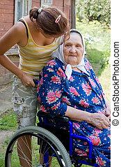karosszék, nő, öreg, érvénytelen