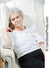 karosszék, nő, öreg, alszik