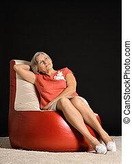 karosszék, nő, öregedő, ülés