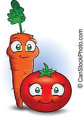 karotte, und, fleischtomaten, gemüse, karikatur