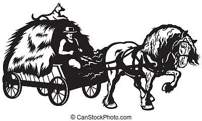 karren, ländlich, gezeichnet, pferd
