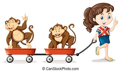 karren, meisje, het trekken, aapjes