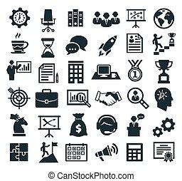 karriär, affär, administration, icons., marknadsföra