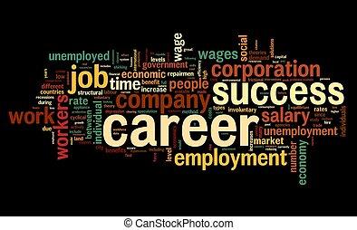 karriär, begrepp, ord, moln, etikett