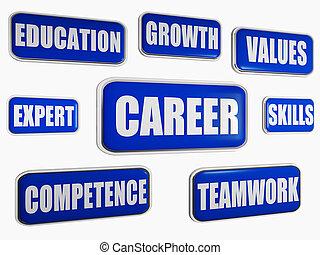 karriär, -, blå, affärsidé