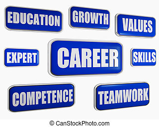 karriär, blå, begrepp, -, affär