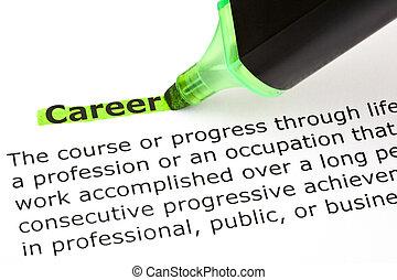 karriär, markerad, in, grön
