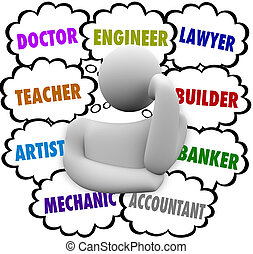 karriär, val, tanke, skyn, tänkare, undrande, ockupation