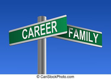 karrier, és, család, útkereszteződés