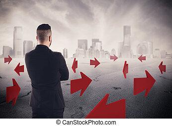 karrier, vakolás, jövő, irányítások, üzletember, 3