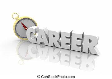 karriere, kompas, vejledning, retning, fremtid, glose, 3, illustration