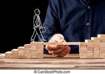 karriere, planlægning, concept., forretningsmand, fik, hjælp, bygning bro, til, success.