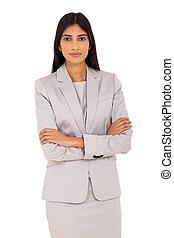 karriere, portræt, kvinde, indisk