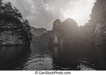 Karst landscape of Baofeng Lake in black and white