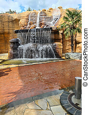 Karst source and waterfall