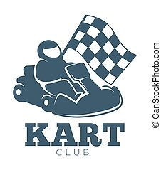 Kart club promotional monochrome emblem with racer in helmet...