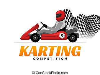 Kart driver sport logo icon. Karting racing isolated, Man...