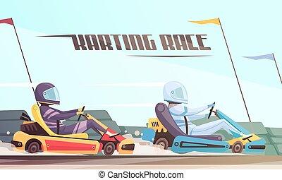 kart, racing, illustration