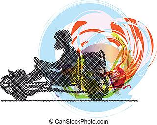 kart, vektor, race., ábra