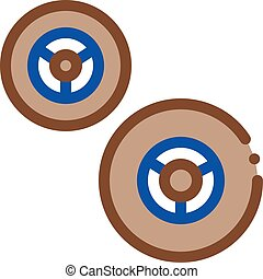 kart wheels color icon vector illustration
