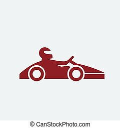 Kart with driver icon. Vector illustration.