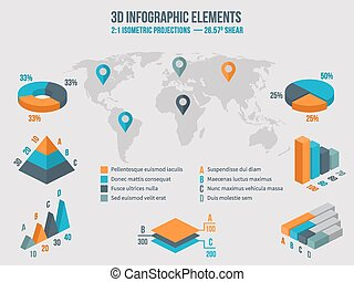 karta, affär, elements., topplista, vektor, infographics, 3