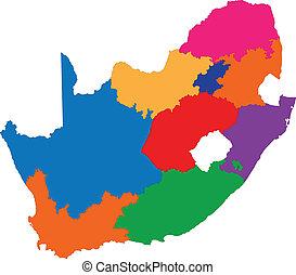karta, afrika, färgrik, syd