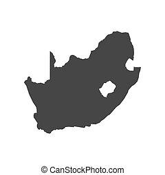 karta, afrika, skissera, syd