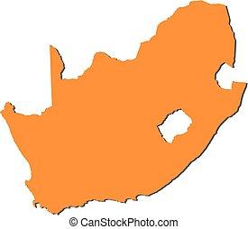 karta, -, afrika, syd