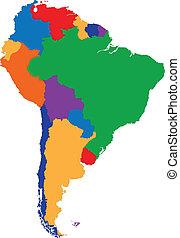 karta, amerika, färgrik, syd