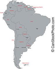 karta, amerika, grå, syd