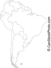 karta, amerika, kontur, syd