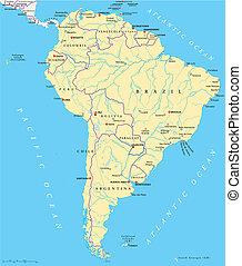 karta, amerika, politisk, syd