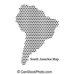 karta, amerika, syd, punkt