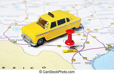 karta, antonio, usa, san, texas, taxi
