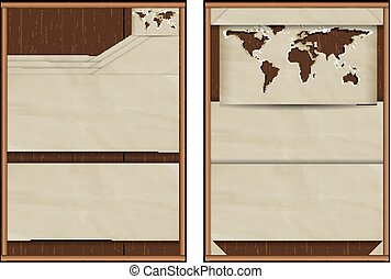 karta, ark, trä, häfte, papper, broschyr, bakgrund, värld