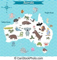 karta, australien, kontinent, tecknad film