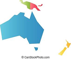 karta, australien, mycket, oceania., politisk, illustration, enkel, vektor, förenklat, infographical, geometrisk