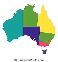 karta, australien, politisk