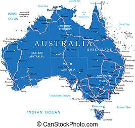 karta, australien, väg
