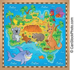 karta, australier, 2, tema, avbild