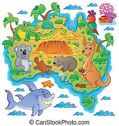 karta, australier, tema, avbild, 3
