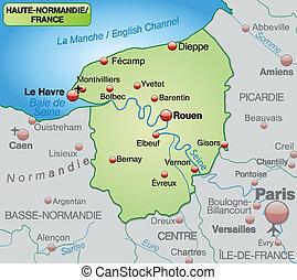 karta, av, övre, normandie