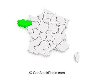 bretagne frankrike karta Karta, (france),  , bretagne, lättnad, 3d rendering. teckning  bretagne frankrike karta