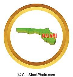karta, av, florida, med, miami, vektor, ikon