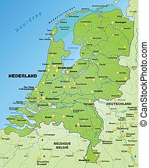 karta, av, nederländerna