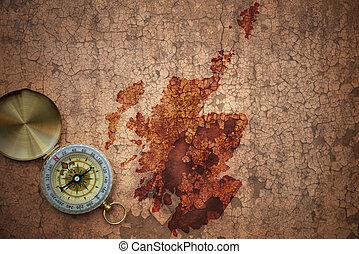 karta, av, skottland, på, a, gammal, årgång, spricka, papper