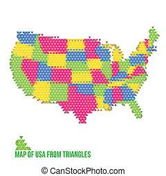 karta, av, usa, från, trianglar