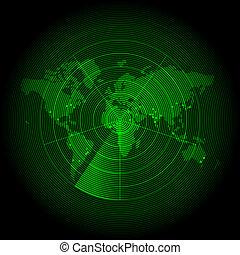 karta, avskärma, grön, värld, radar
