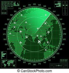 karta, avskärma, radar, grön, flygmaskiner, värld